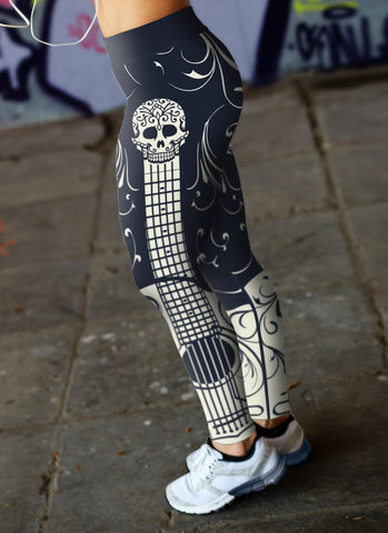Image of Blue and White Sugar Skull Guitar