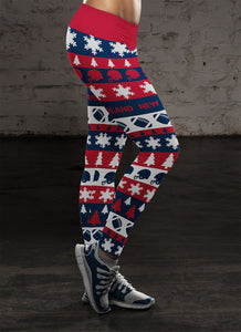 New England Ugly Christmas Classic Football Leggings