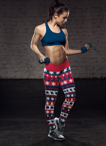 Image of New England Ugly Christmas Classic Football Leggings
