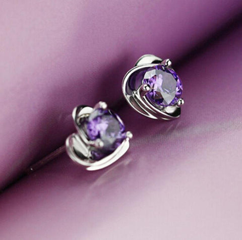 Image of Warrior Heart Silver Purple Gem Earrings