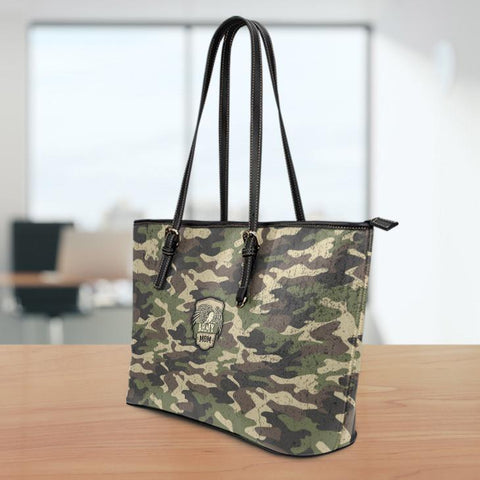 Image of Camouflage Large Leather Tote Bag