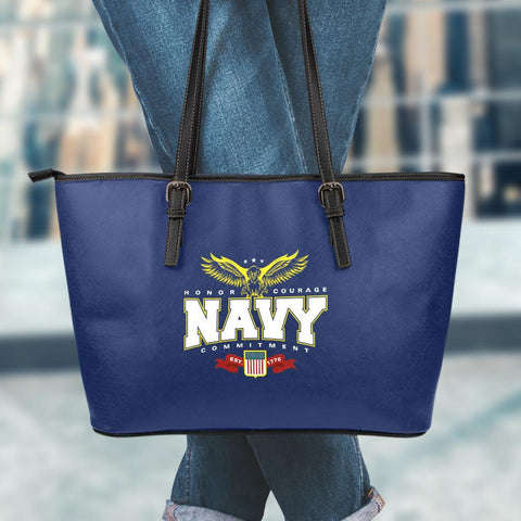 Image of Navy Large Leather Tote Bag