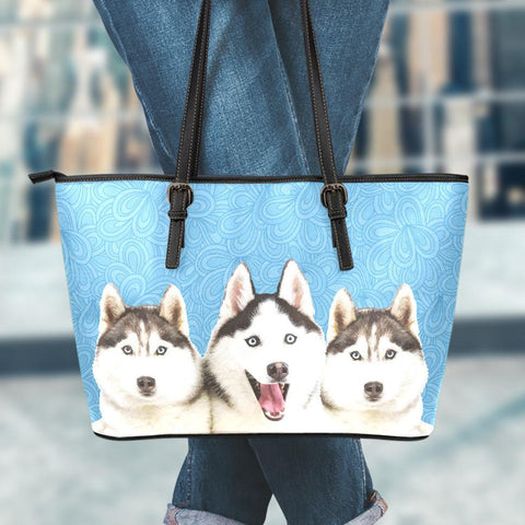Image of Huskies Small Leather Tote Bag