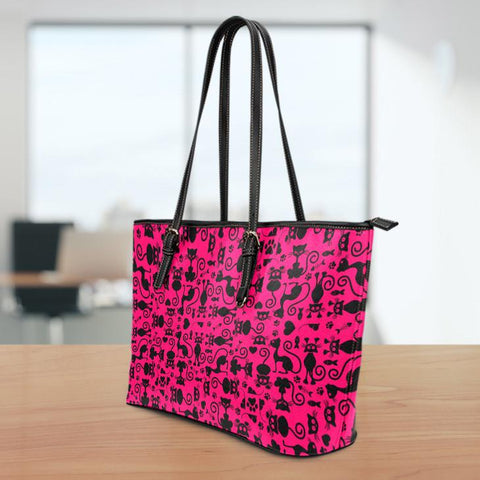 Image of Cats Pink Small Leather Tote Bag