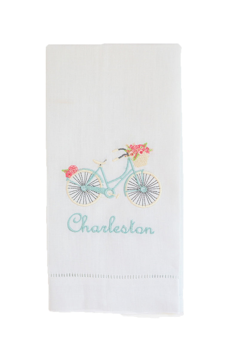 Embroidered Bike Tea Towel