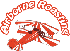 Airborne Roasting Logo - orange bi-plane