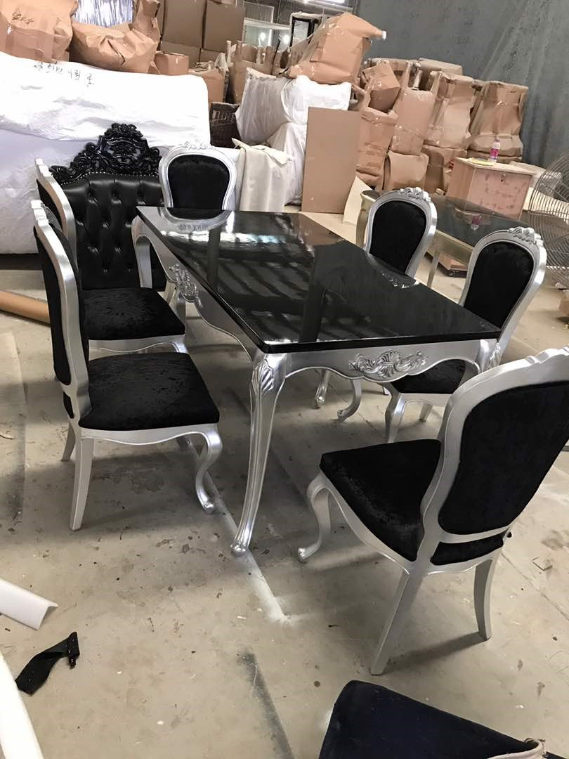 LUXURY ITALIAN STYLE WOOD DINING TABLE SET ( 180CM )   Black/Silver SOLID  WOOD