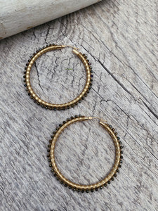 14kt Yellow Gold Hoops w/Gold Spinel