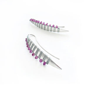 Sterling Silver Petal Earrings Handwoven with Pink Garnet