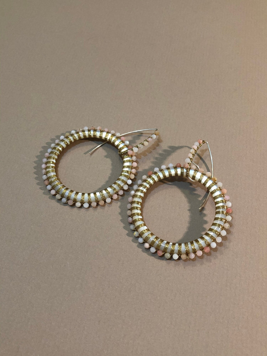 Pearl Hoops with Pink Opal