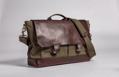 Brown leather and olive green waxed canvas messenger bag that can be used  as briefcase 35b41354567f