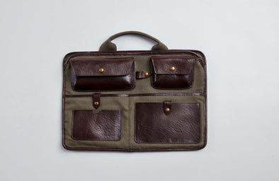laptop sleeve with olive green waxed canvas and brown leather