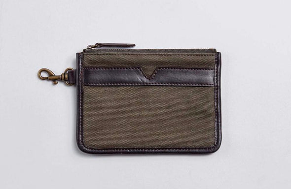 Olive green canvas and brown leather lined pouch