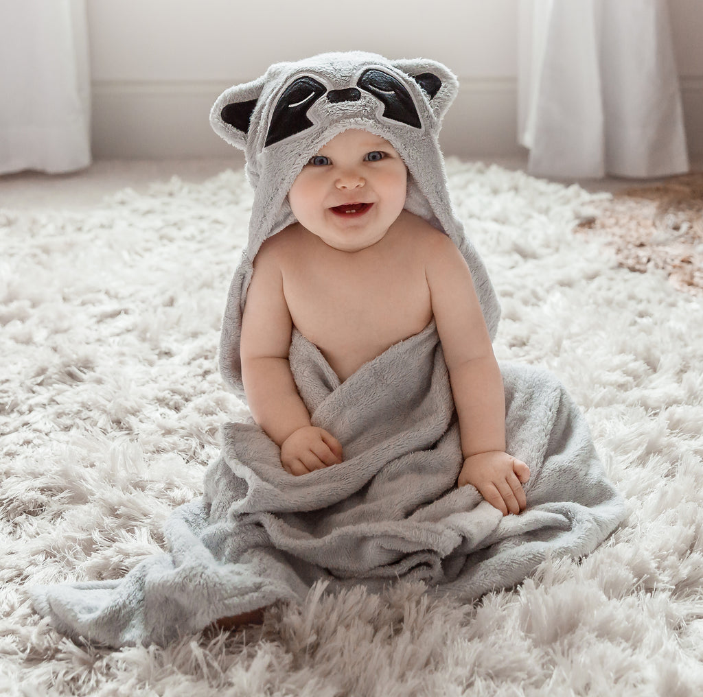 Raccoon Bamboo Hooded Towel for Kids