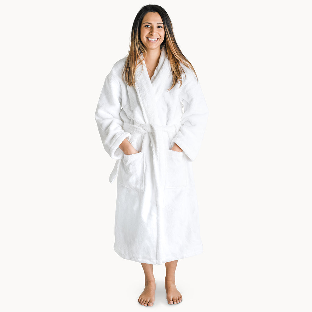 Organic Cotton Bathrobes for Adults in White - Natemia