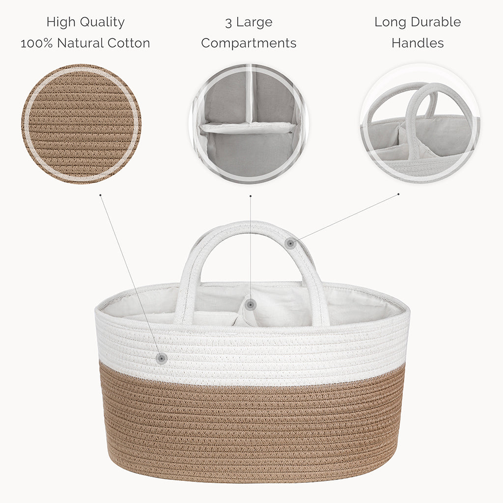 Cotton Rope Diaper Caddy Organizer in Beige - Natemia