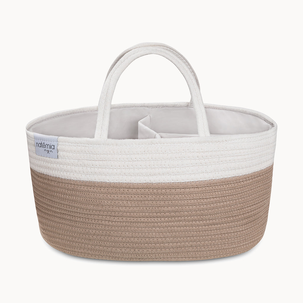 Cotton Rope Diaper Caddy Organizer in Beige