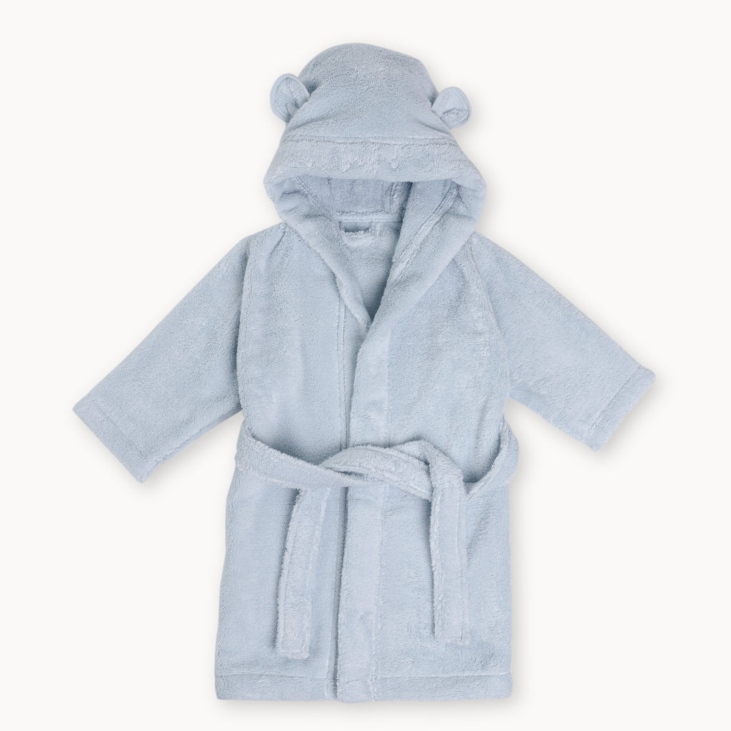 Organic Cotton Hooded Bathrobe for Babies and Toddlers in Blue - Natemia