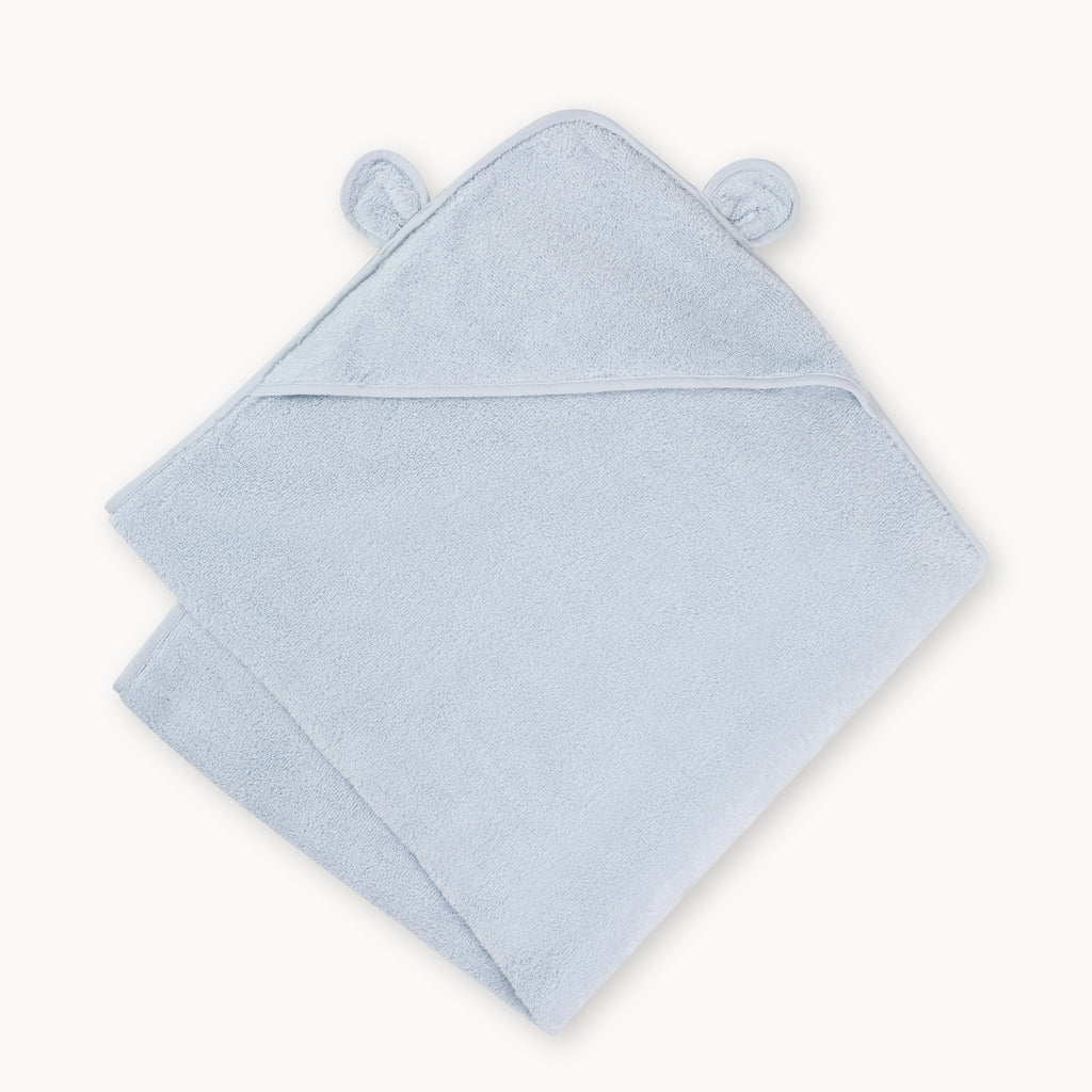 Organic Cotton Hooded Towel For Babies and Toddlers in Blue - Natemia