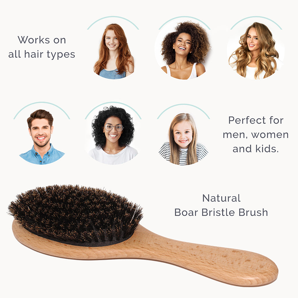 Wooden Boar Bristles Hair Brush Set for The Whole Family - Natemia