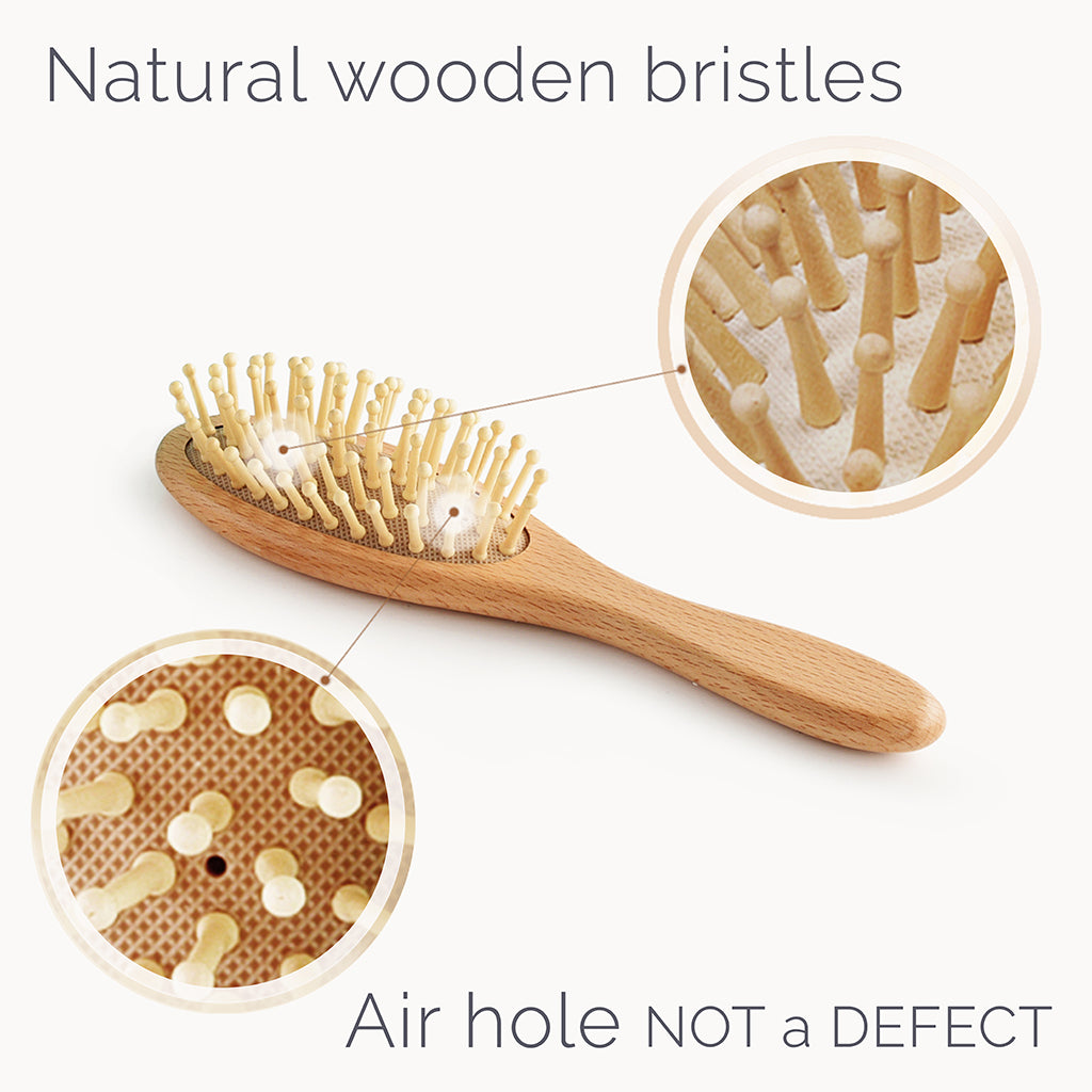 Wooden Baby Hair Brush Set With Natural Bristles - Natemia