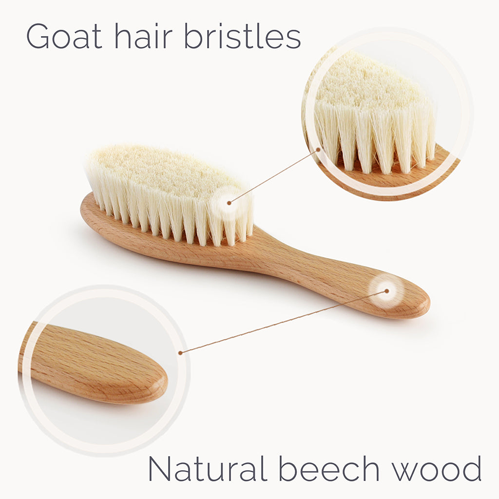 Wooden Baby Hair Brush With Natural Bristles - Natemia