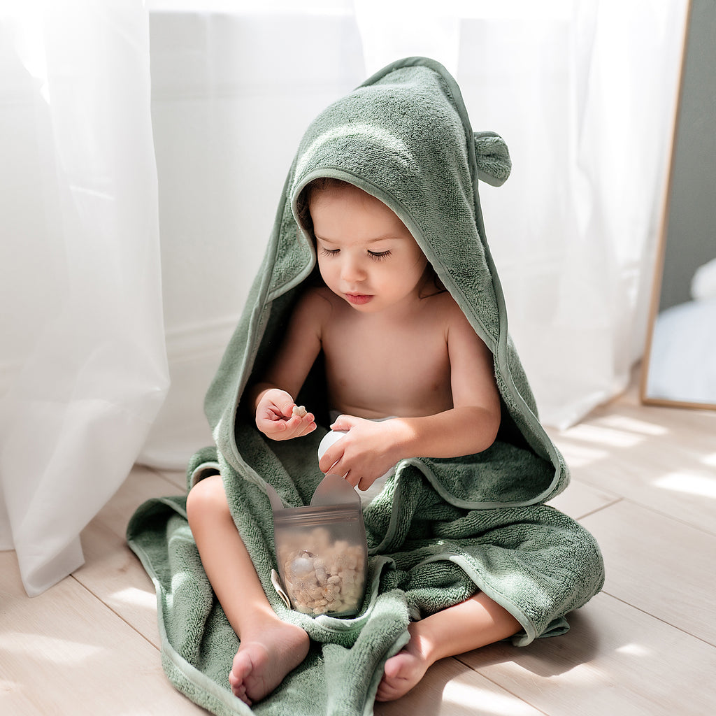 Organic Cotton Hooded Towel For Babies and Toddlers in Sage - Natemia