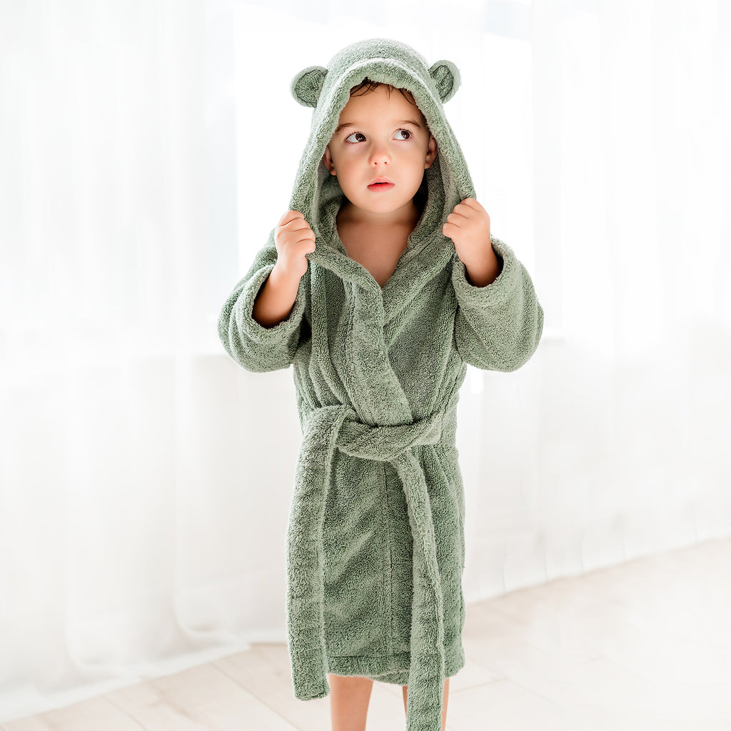 Organic Cotton Hooded Bathrobe for Babies and Toddlers in Sage - Natemia
