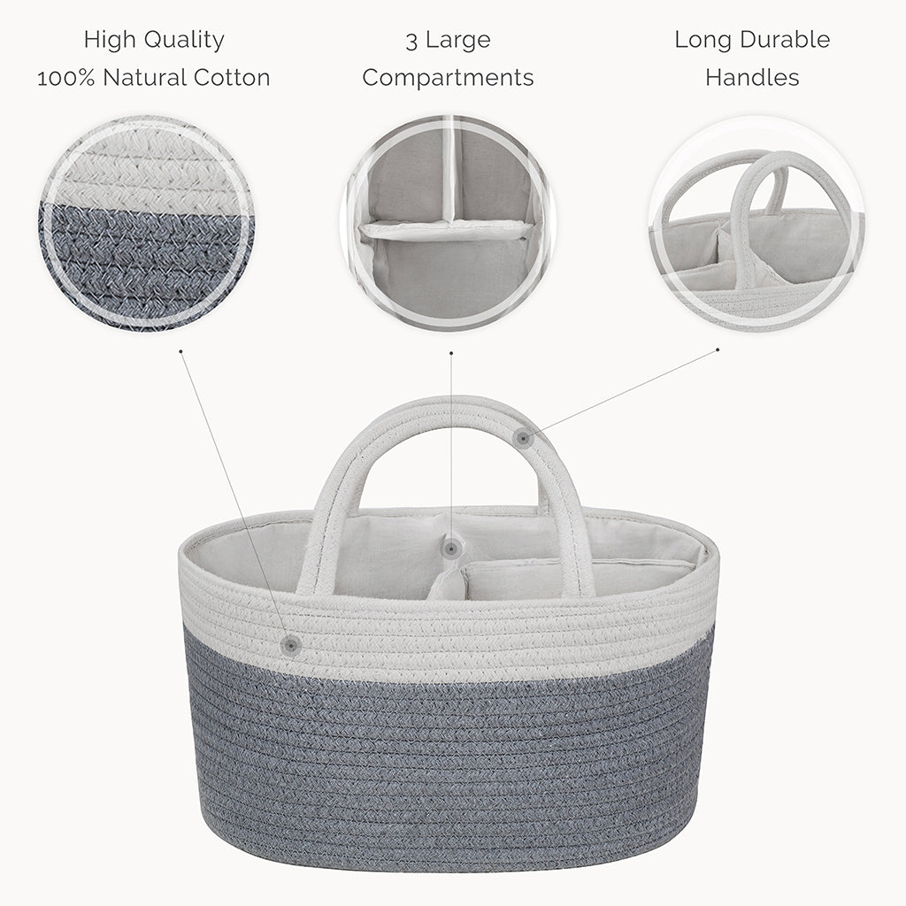 Cotton Rope Diaper Caddy Organizer in Grey - Natemia