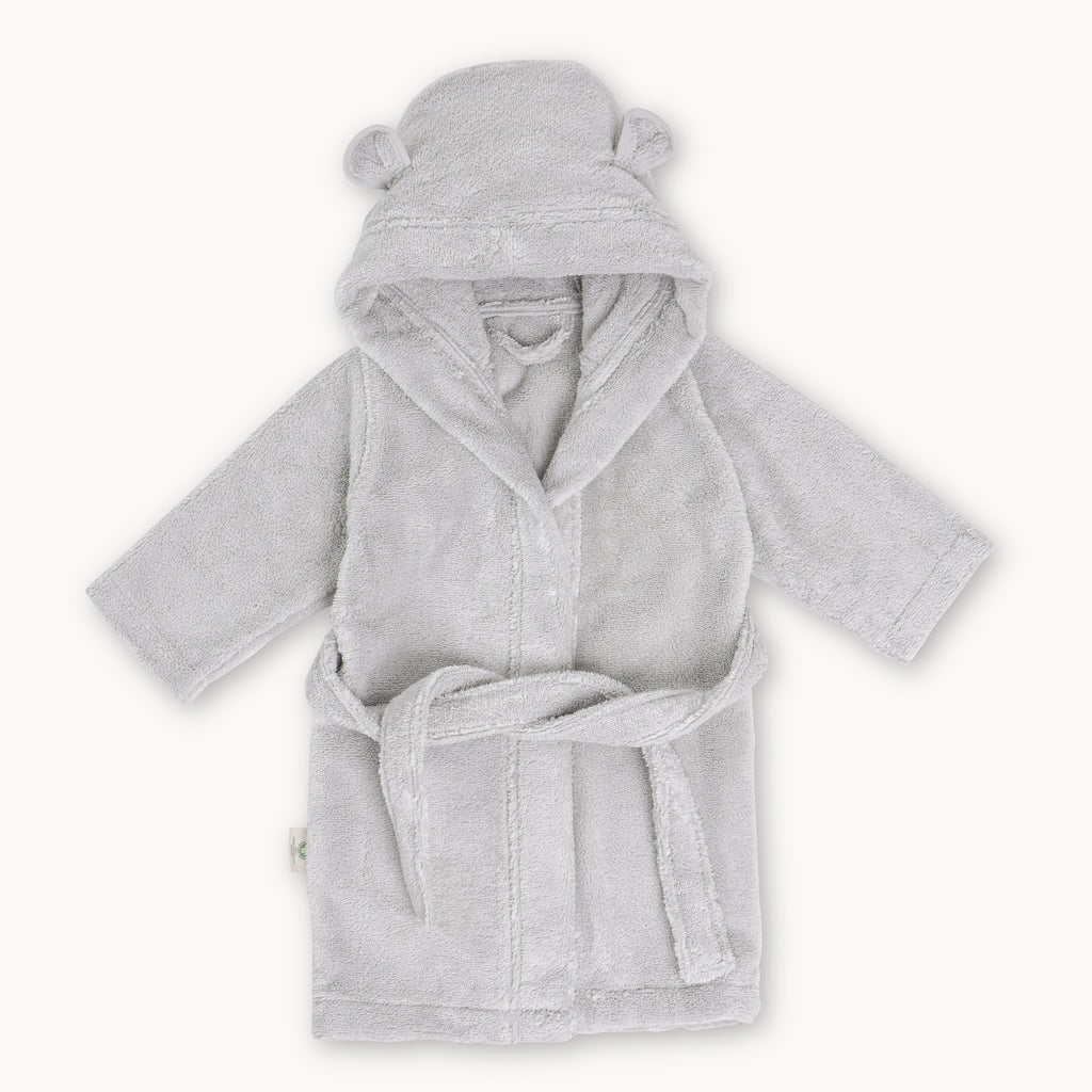 Organic Cotton Hooded Bathrobe for Babies and Toddlers in Grey - Natemia