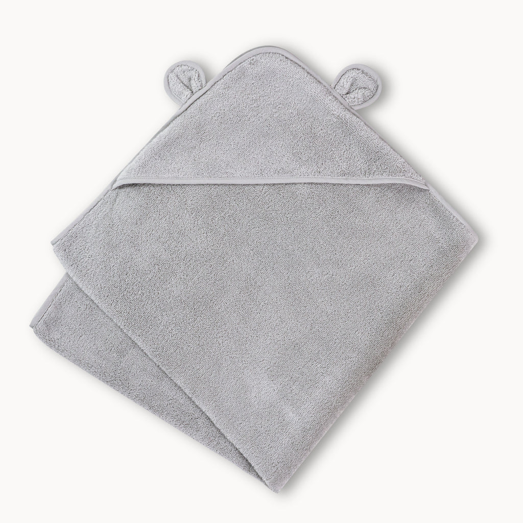 Organic Hooded Towel for Babies and Toddlers in Grey