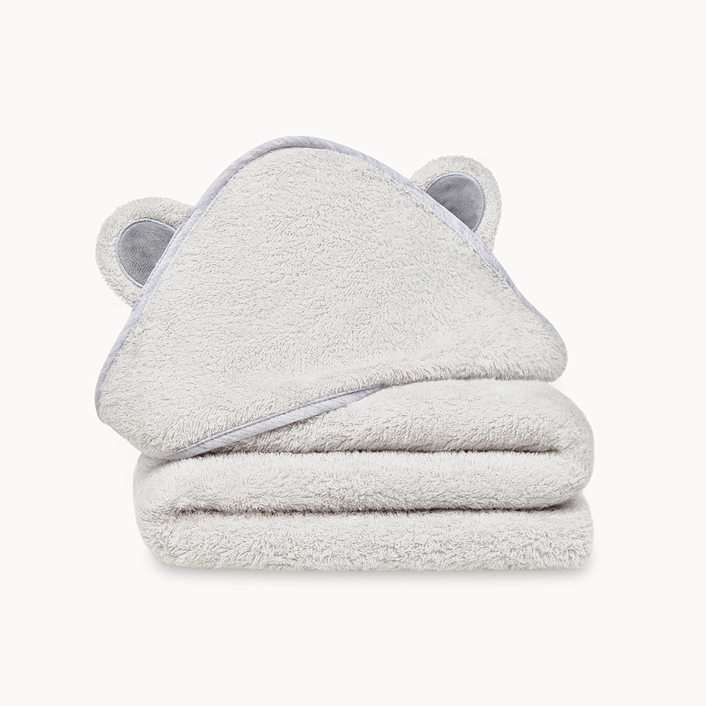 Bamboo Baby Bath Hooded Towel in Grey - Natemia