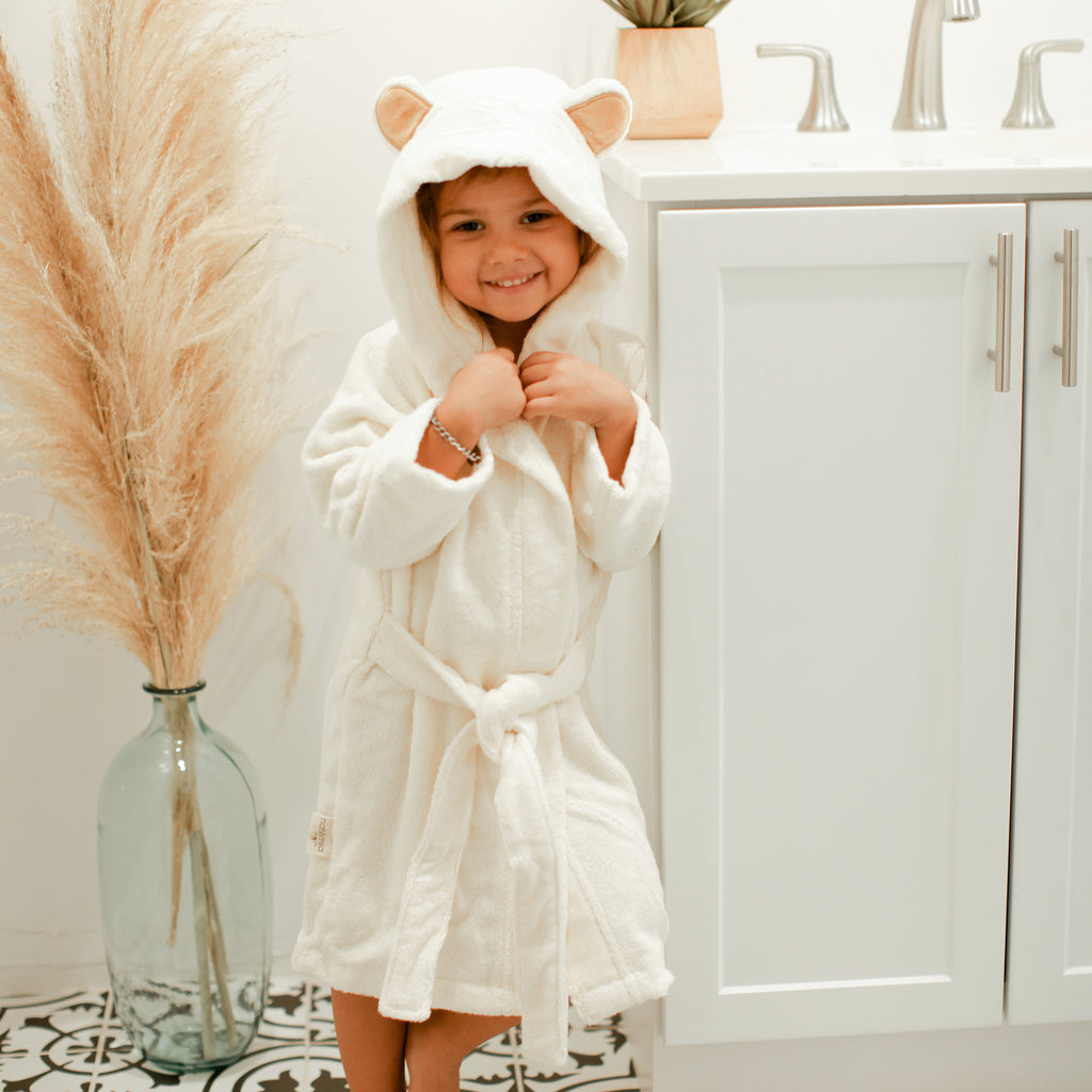 Bamboo Bathrobe for Babies and Toddlers in Ivory - Natemia