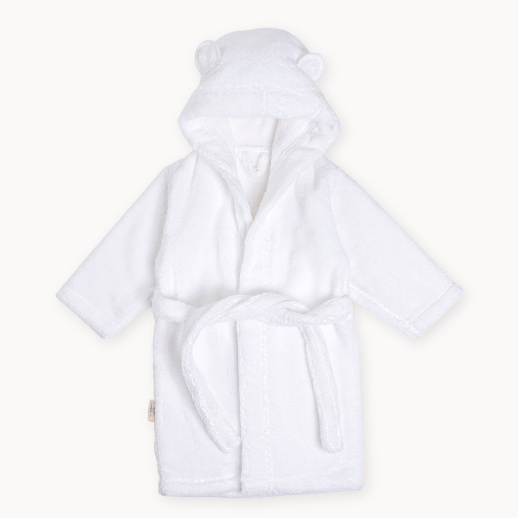Organic Hooded Bathrobes for Babies and Toddlers in White