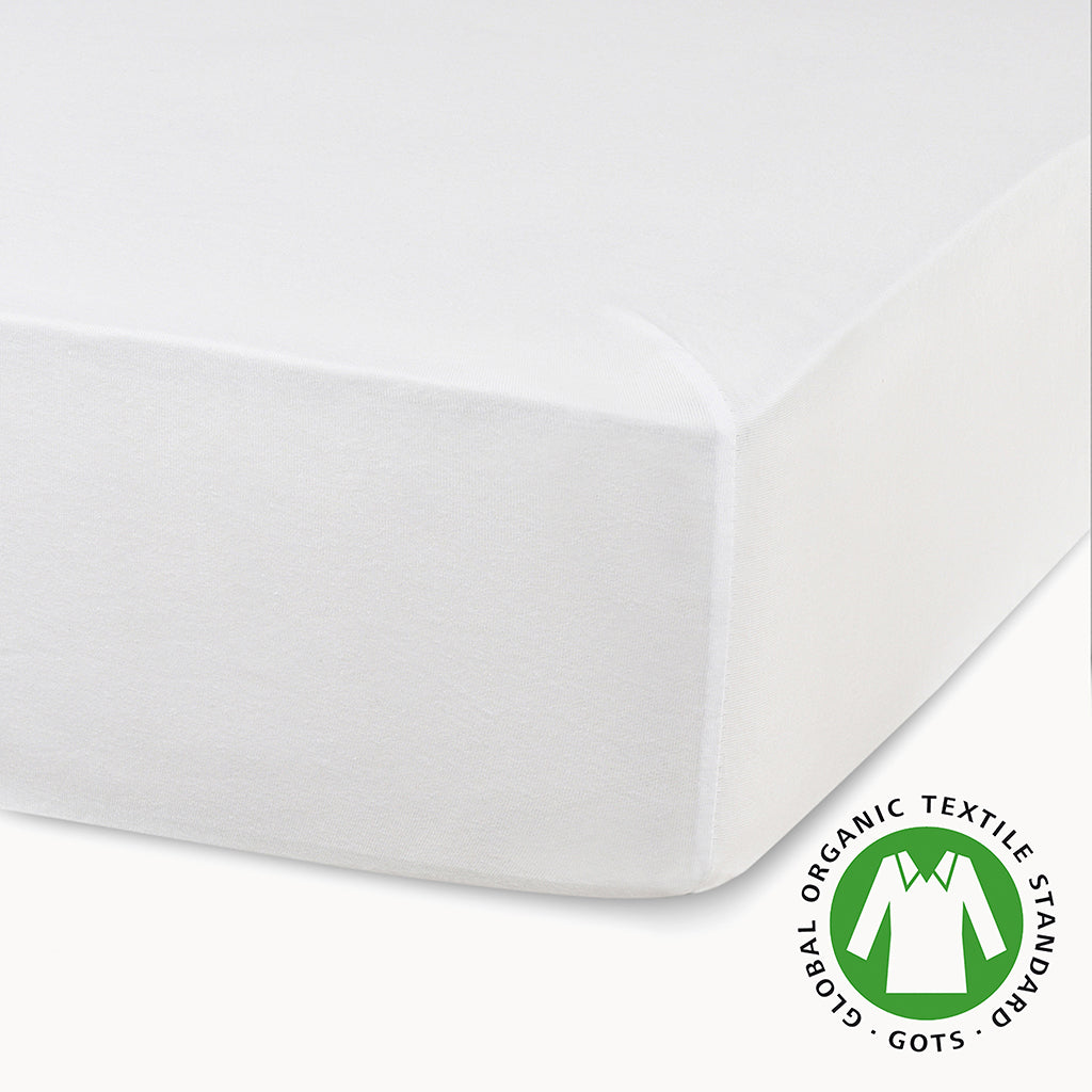 2 Pack Organic Cotton Crib Sheets -  White - Natemia
