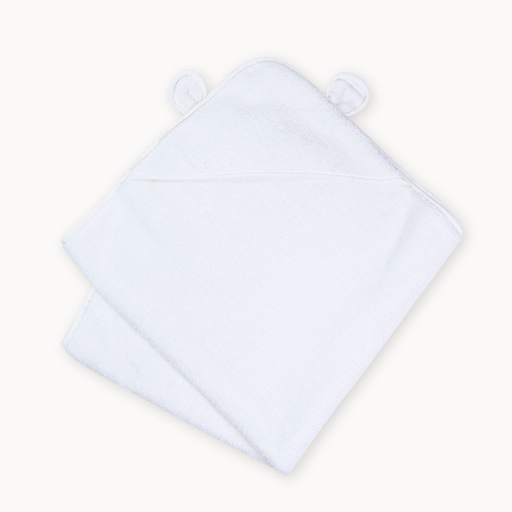 Organic Cotton Hooded Towel for Babies and Toddlers in White - Natemia