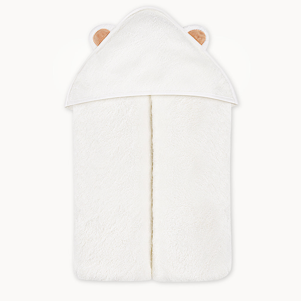 Bamboo Baby Bath Hooded Towel in White - Natemia