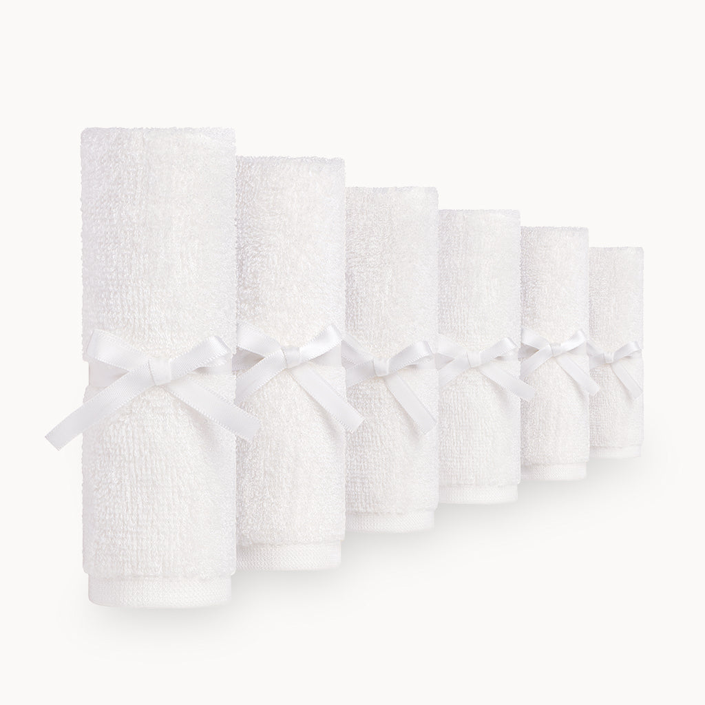 Ultra Soft Bamboo Washcloths in White - 6 Pack - Natemia
