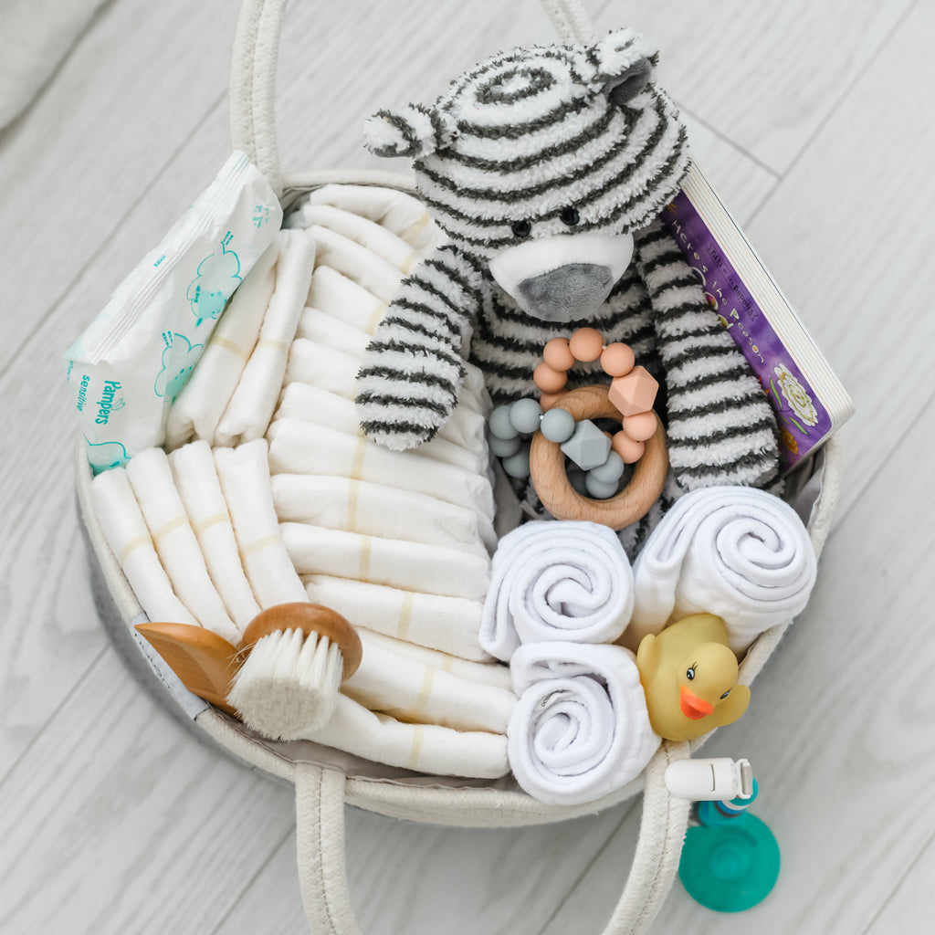 Cotton Rope Diaper Caddy Organizer in Grey