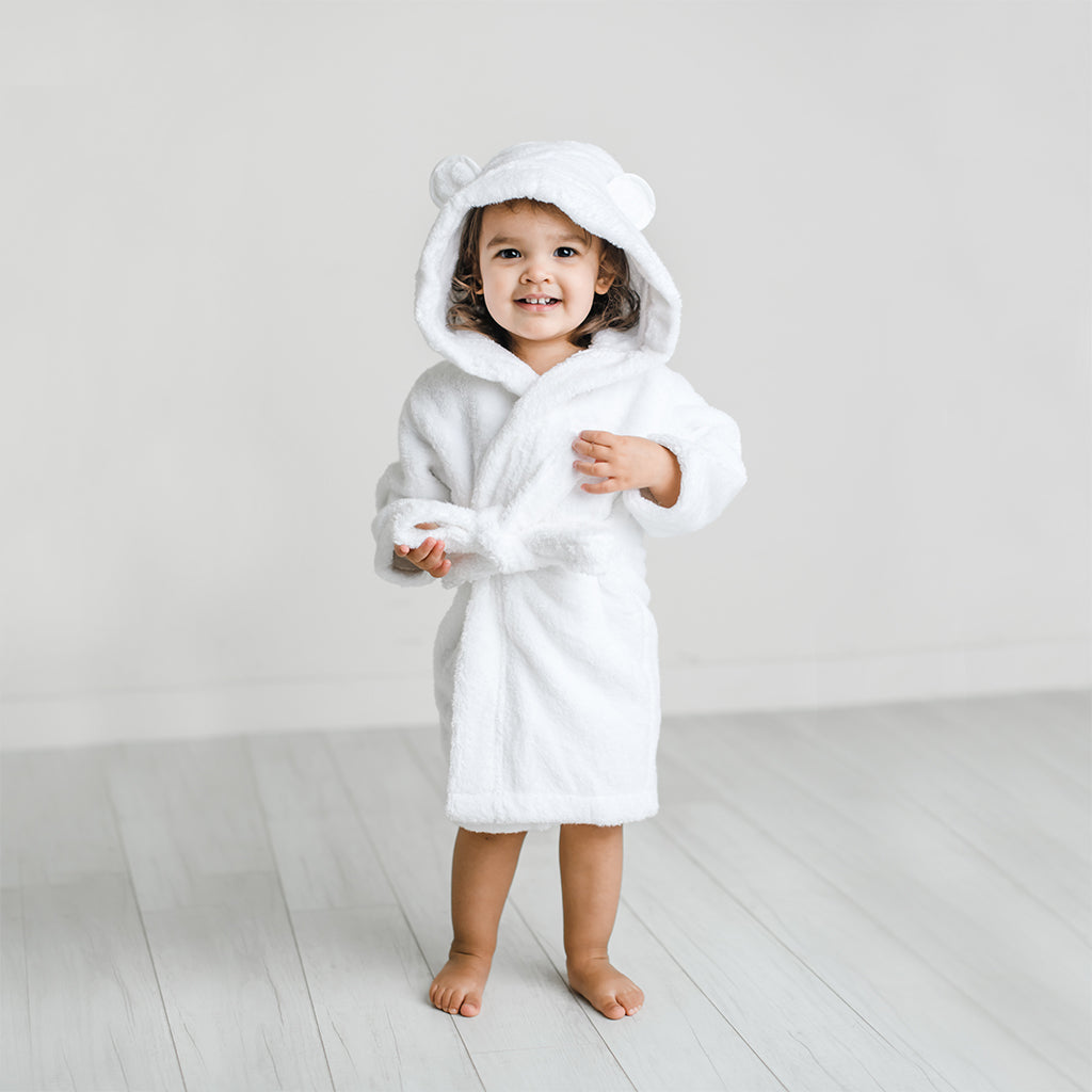 Organic Cotton Hooded Bathrobe for Babies and Toddlers in White - Natemia