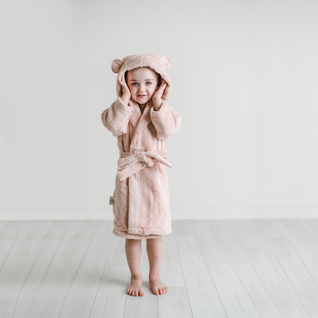 Organic Cotton Hooded Bathrobe for Babies and Toddlers in Blush - Natemia