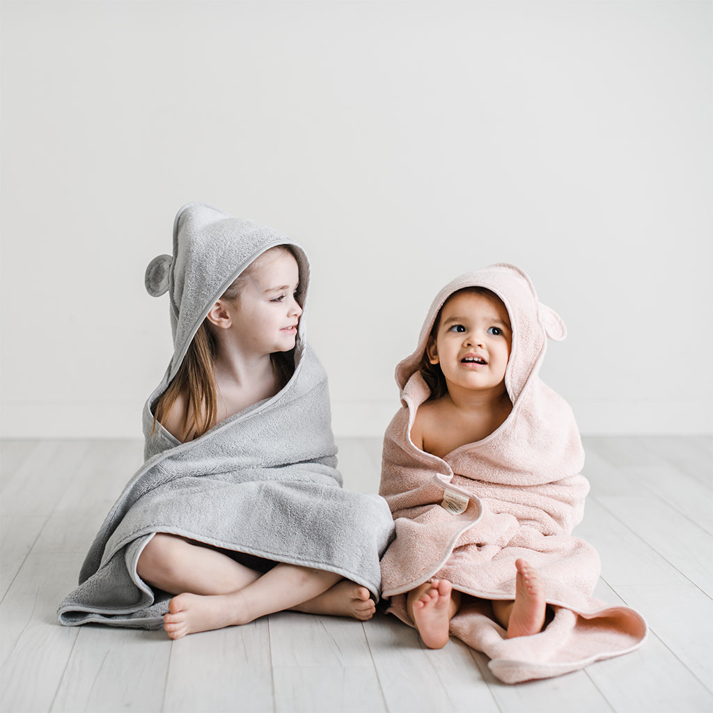 Organic Cotton Hooded Towel for Babies and Toddlers in Grey - Natemia