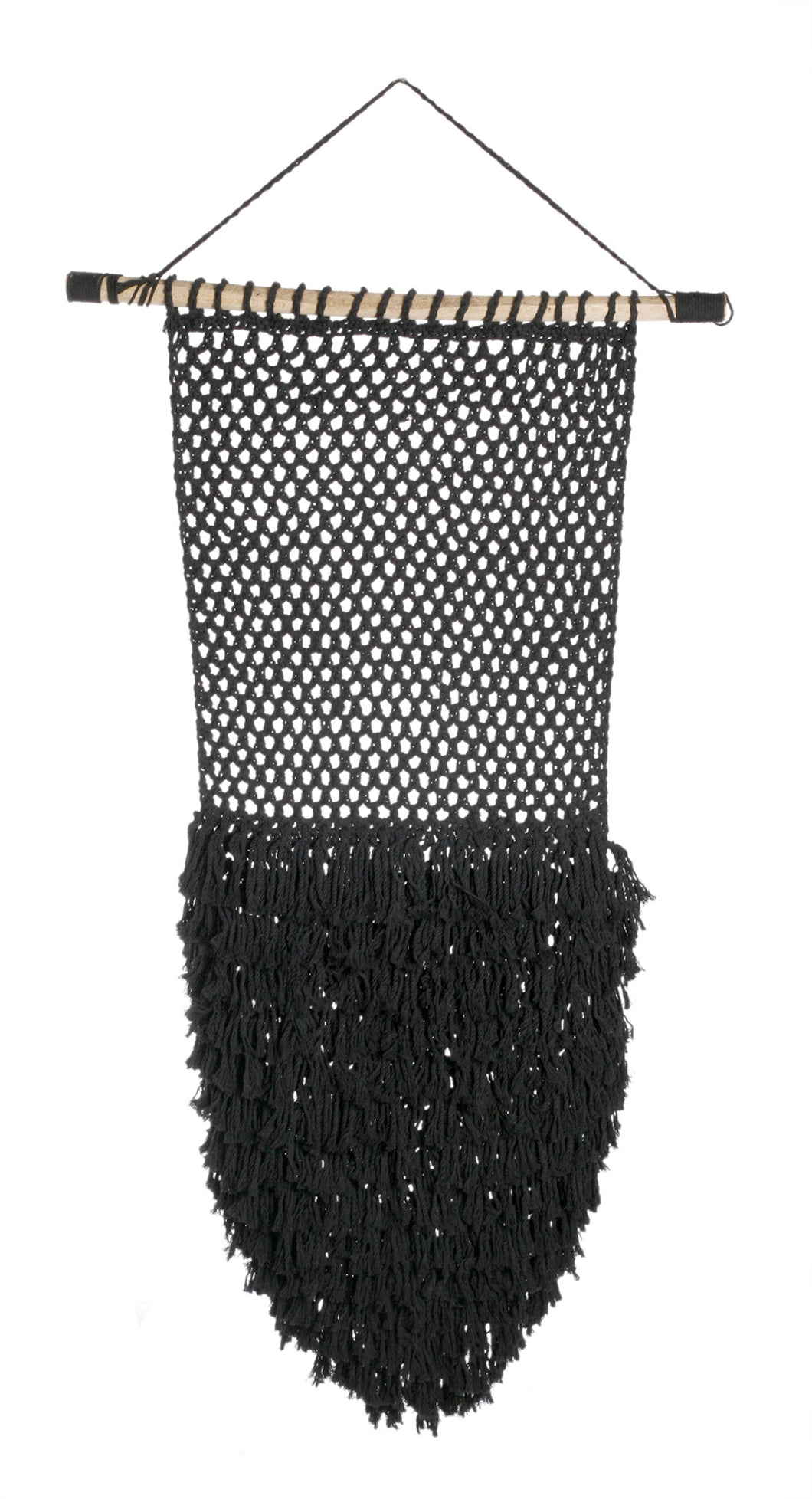 Large Black Shag Macrame