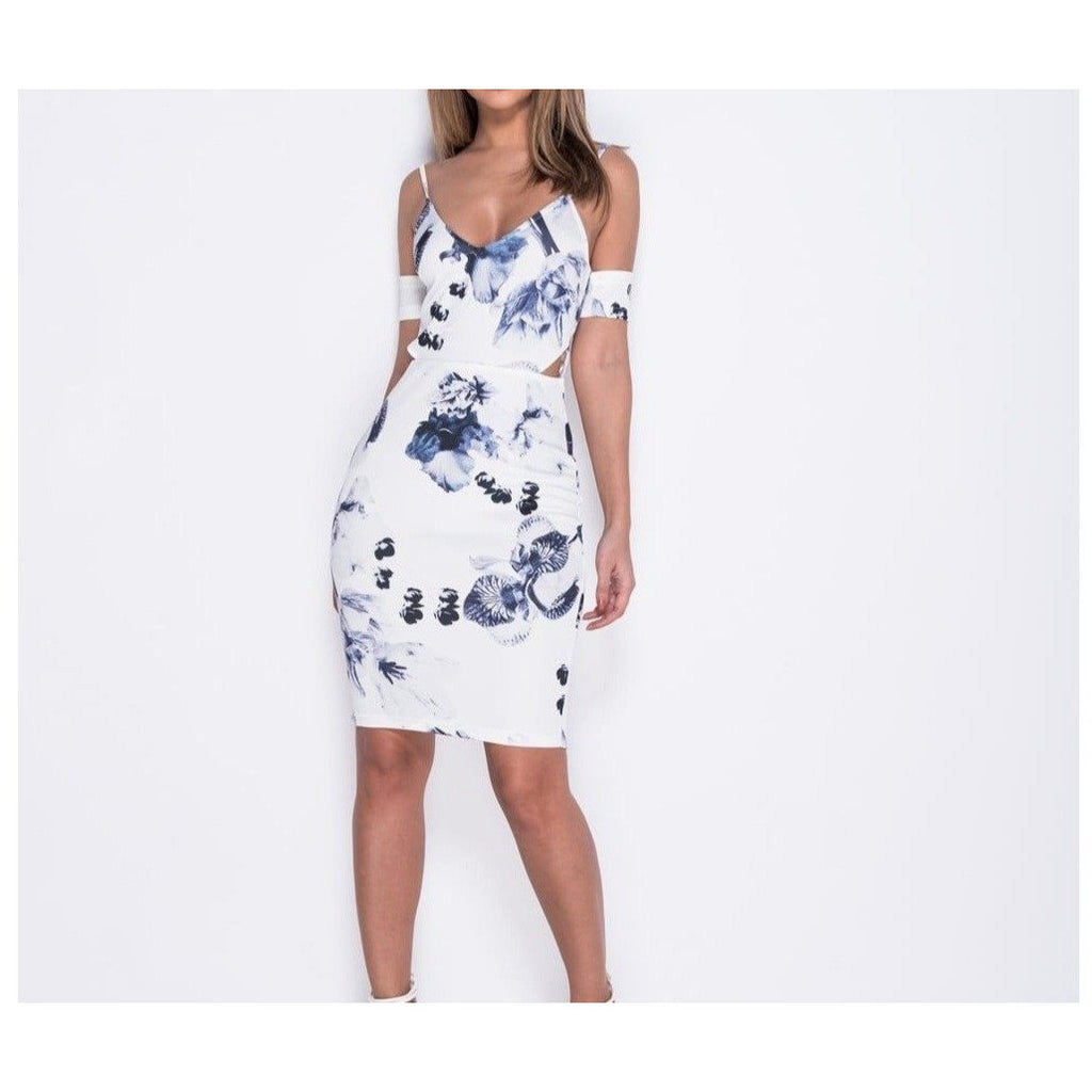 Flower Print Cutout Detail Bodycon Dress