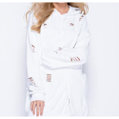 Women's Laser Cut Hooded Sweatshirt