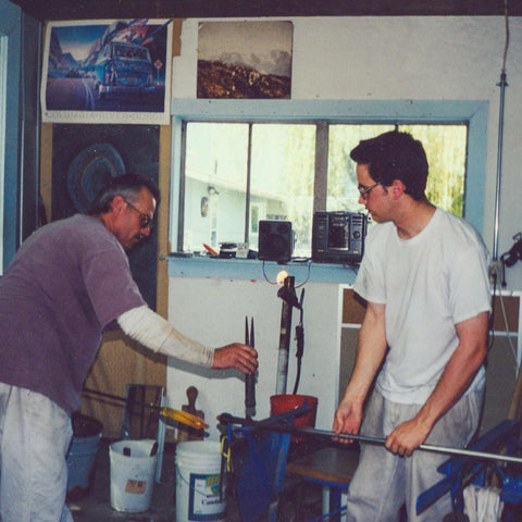 Pat and Ryan from 1997 in the old shop in Windermere, taken by Ed ( @glassmtn )
