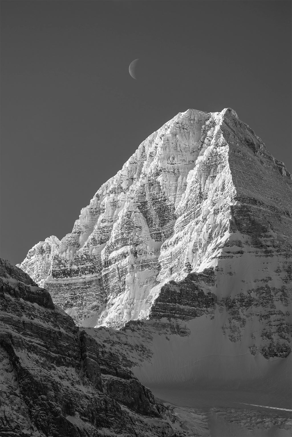 Assiniboine and Waning Moon 24x36 inch Canvas Print