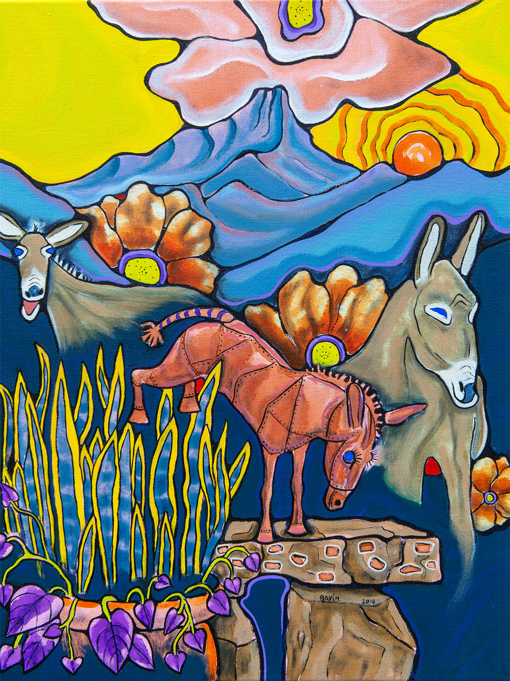 Kicking Horse Donkeys - Archival Print