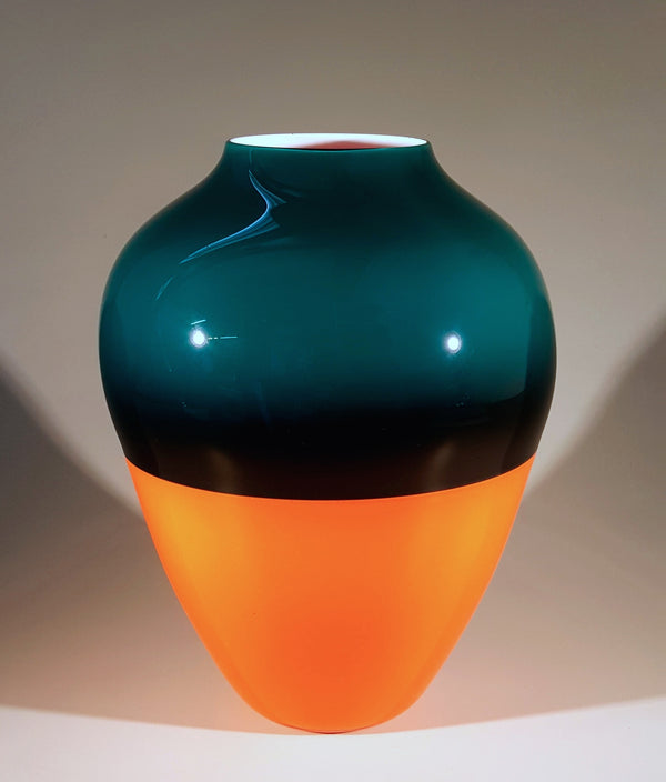 Saturn Vase - Forest Green And Reddish Orange