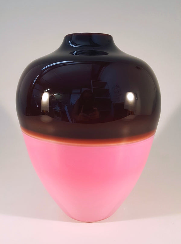 Saturn Vase - Dark Reddish Brown and Pink